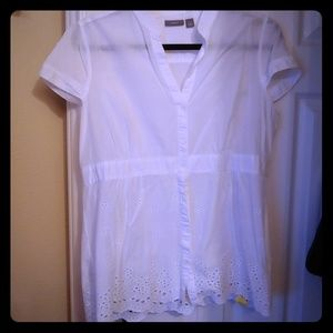 White button down top with eyelet trim